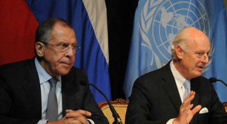 Глава МИД РФ Сергей Лавров и спецпосланник ООН по Сирии Стаффан де Мистура