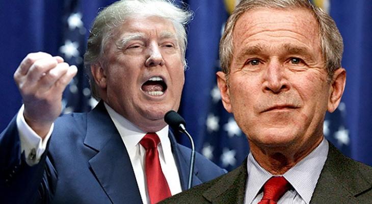Будущий президент США Дональд Трамп и экс-президент США Джордж Буш