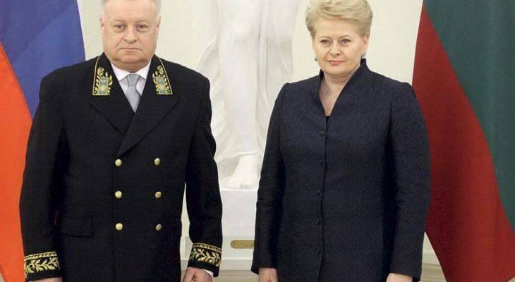 Александр Удальцов и Даля Грибаускайте, президент Литвы