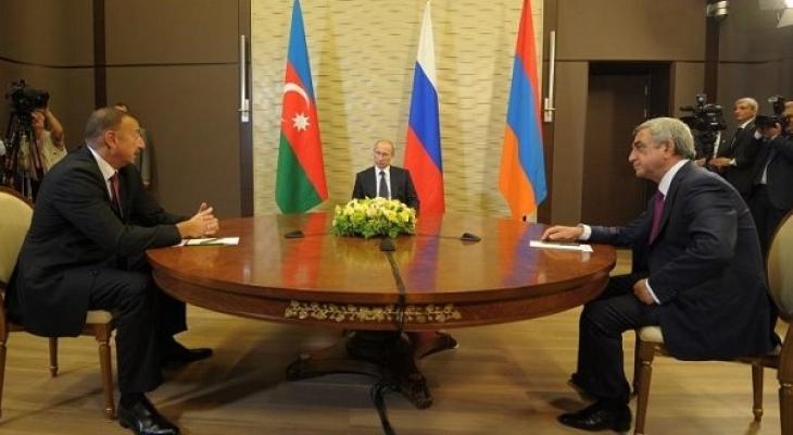Президент России В. Путин, президент Азербайджана И. Алиев, президент Армении С. Саргсян