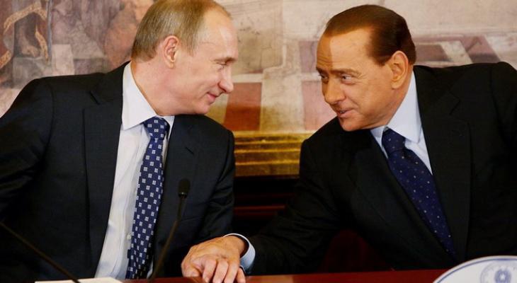 Владимир Путин и Сильвио Берлускони